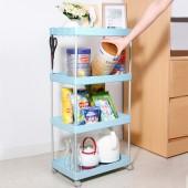 廚房置物架浴室整理架落地多層儲物架子可移動小推車帶輪收納架 加寬低款 (四層)
