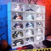鞋子收納盒家用球鞋鞋子收納鞋柜抽屜式收納神器透明塑料鞋盒(白色款)單個裝