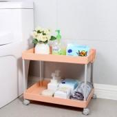 廚房置物架浴室整理架落地多層儲物架子可移動小推車帶輪收納架 加寬低款 (二層)
