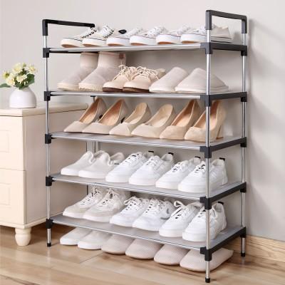 不銹鋼多層鞋架簡易組合式收納鞋柜省空間宿舍鞋架子家用經濟型 (80.5cm墊片款)