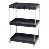廚房置物架浴室整理架落地多層儲物架子可移動小推車帶輪收納架 加寬低款 (三層)