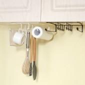 廚房櫥柜免打孔鍋蓋菜板架子吊柜砧板置物架鐵藝多用下掛籃杯架紙巾掛架