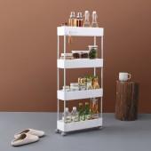 廚房置物架浴室整理架落地多層儲物架子可移動小推車帶輪收納架 窄款(四層)