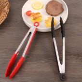 430不銹鋼硅膠食品夾家用廚房夾牛排烤肉防滑瀝油夾子防燙耐高溫