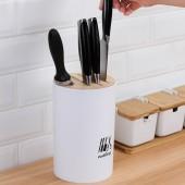 廚房竹木蓋刀架多功能可拆卸瀝水菜刀架家用簡易刀具收納架置物架(圓形)