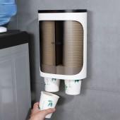 帶蓋雙筒取杯器壁掛式一次性杯子架家用飲水機卡扣式放紙杯置物架(雙筒光面款)
