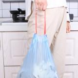 加厚一次性家用廚房分類收納袋宿舍黑色塑料袋大號點斷式垃圾袋 抽繩款(5卷75只)