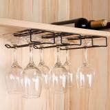 創意鐵藝收納架家用櫥柜下免釘倒掛式高腳杯紅酒杯架懸掛式酒杯架
